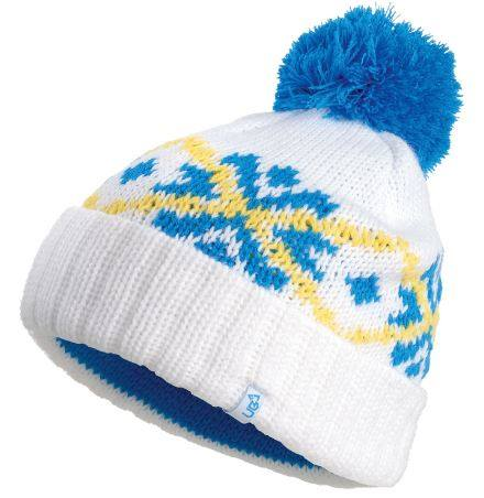 580608152c1 Winter Snow Bobble Hat in White Blue and Yellow by Urban Beach ...